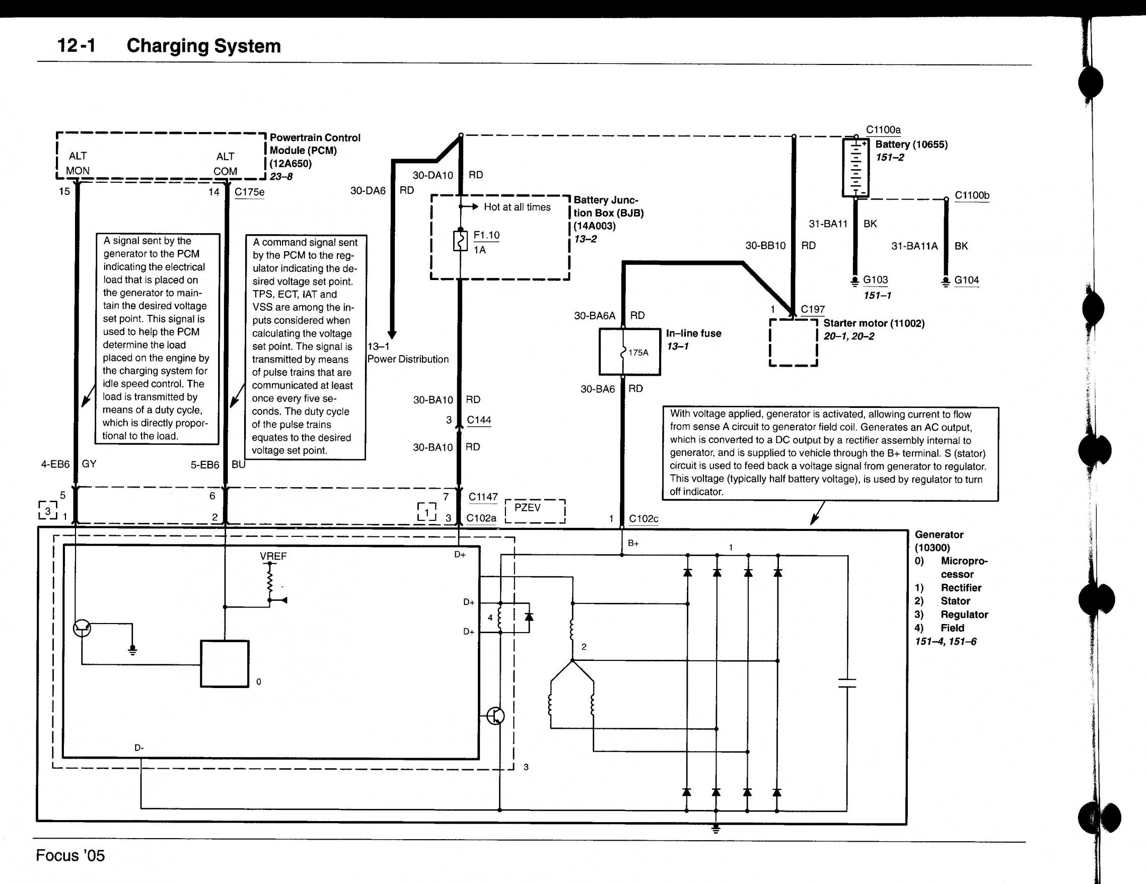 2005 focus 2 0 alternator regulator diagram