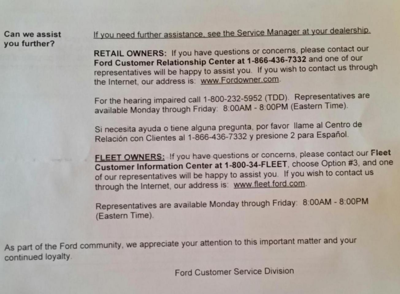 Letter from FORD - Ford Focus Forum, Ford Focus ST Forum