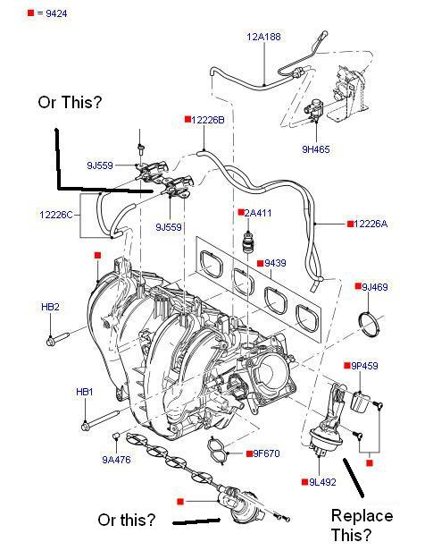 Honda Accord88 Radiator Diagram And Schematics further 154120 Intake Manifold Runner Control Stuck Open Help 3 furthermore 364830 F150 Engine  ponent Diagram moreover 408z0 Dpfe Sensor Located 97 Taurus furthermore 2000 Honda Cr V Exhaust System Diagram Wiring Diagrams. on 2001 ford focus vacuum hose diagram