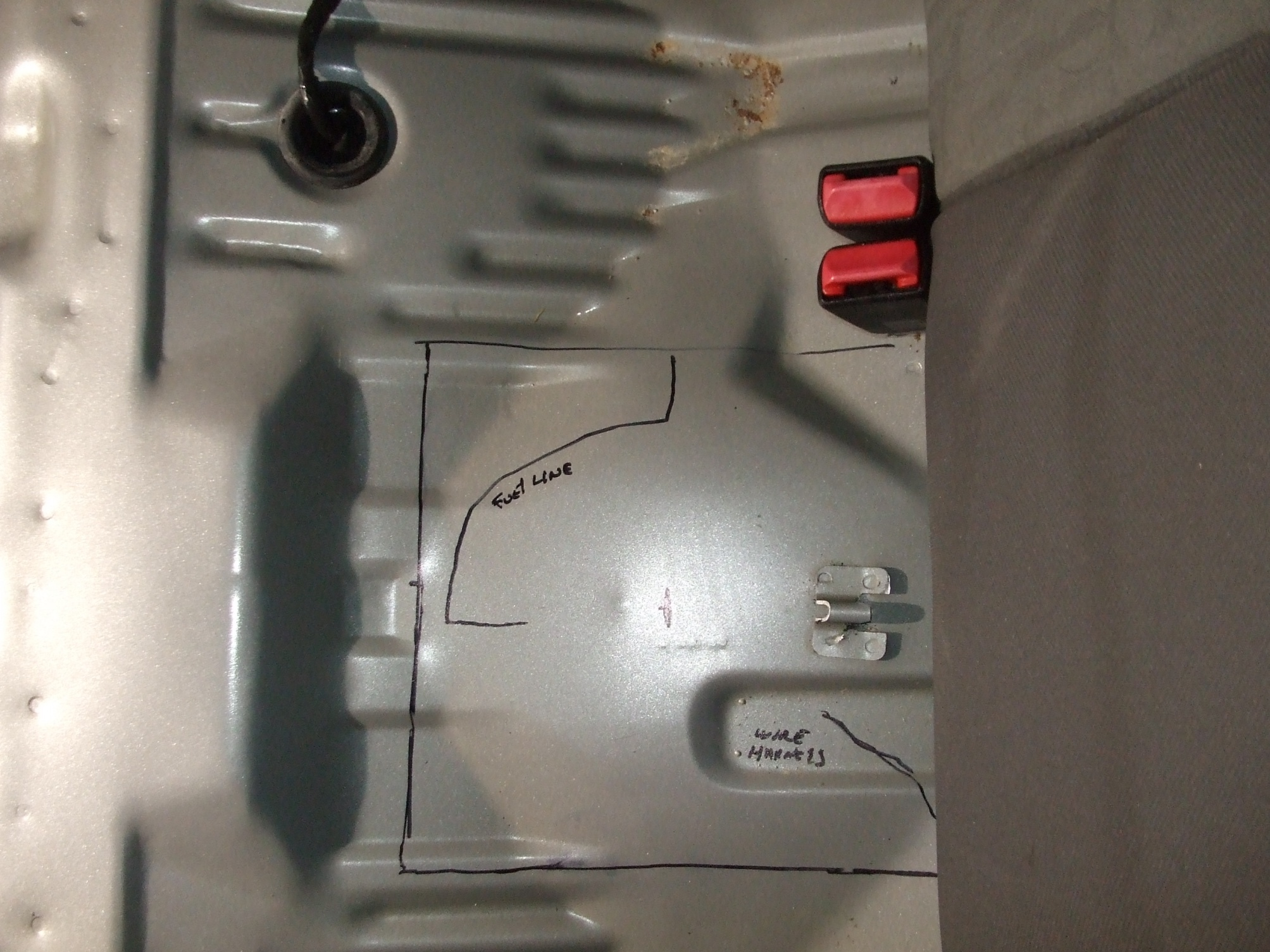 2005 zx4 fuel pump access cutout - actual location