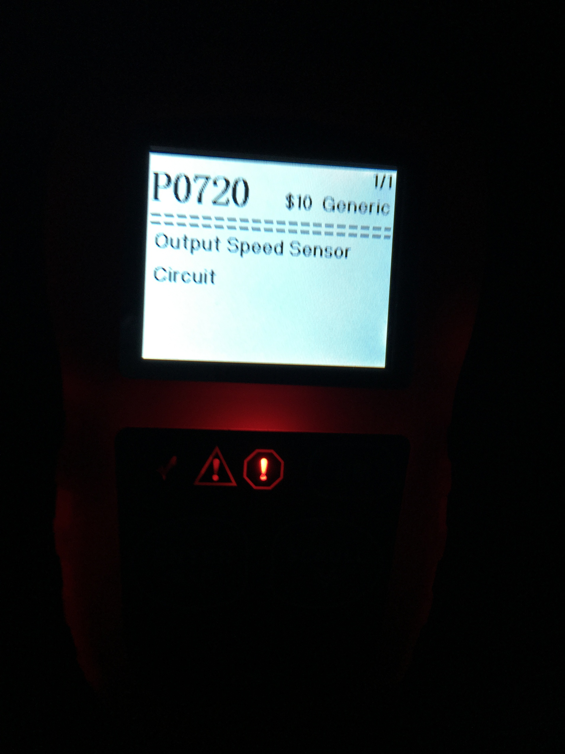 Cruise Control not work caused speedo to fail? P0720 Code Speed