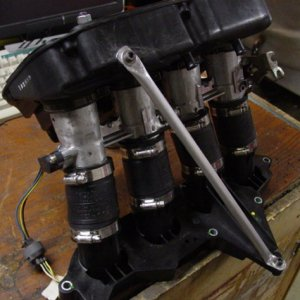 48mm GSX-R throttle bodies w/SVT intake flange and bottom half of air box.