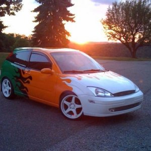 my car in the sunset