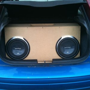 12 inch P3S's in a custom 4 cubic foot box tuned at 34hz