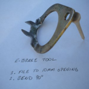E brake cable adjustment tool