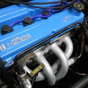 Ceramic coated 4-2-1 header install,CFM 65 mm Throttle body,Taylor Thundervolt Wires,VF Engineering dog bone mount,Super Ford Blue Powder coated Valve
