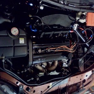 intake/catch can/ pwr str tank/valve cover/ic piping/fuel rail all new powder coatd gloss black