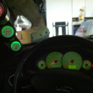 POD gauage with green led's to match dash lights